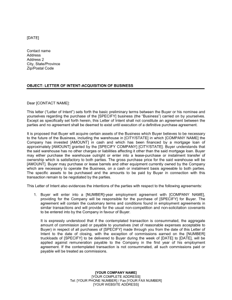 letter-of-intent-sample-555 | Useful Templates | Letter of