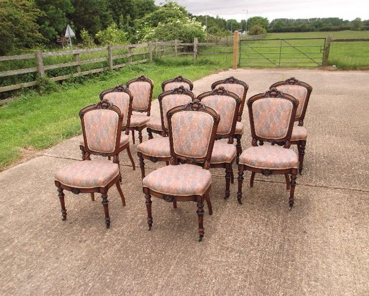 Large Set Of Antique Dining Chairs - Set Of 10 French Louis XVI Influence  Late Century Walnut Dining Chairs - ANTIQUE FURNITURE WAREHOUSE - Large Set Of Antique Dining Chairs