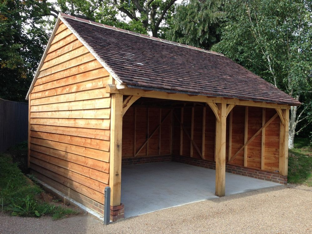 Oak framed garage cart lodge car ports carport ideas for Oak framed house designs