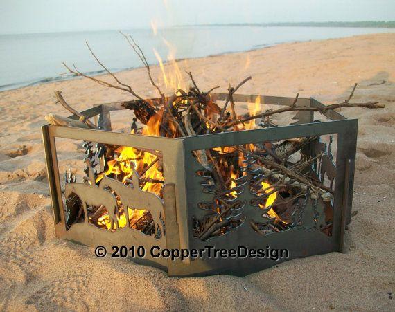 Portable Fire Pit Beach : Decorative portable metal fire pit flame