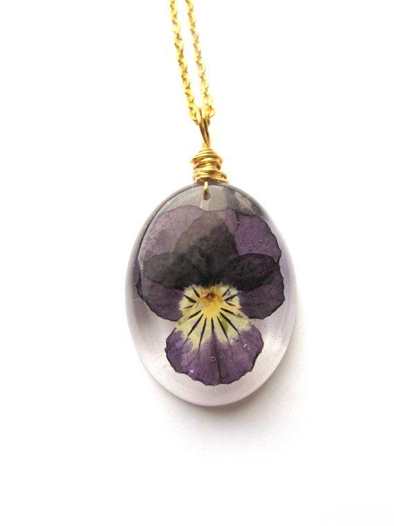Purple Resin and Violet Flower Pendant Jewellery Set