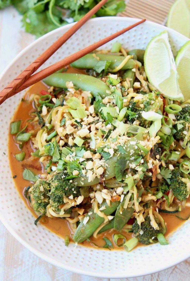 vegan pad thai with zucchini noodles sugar snap peas