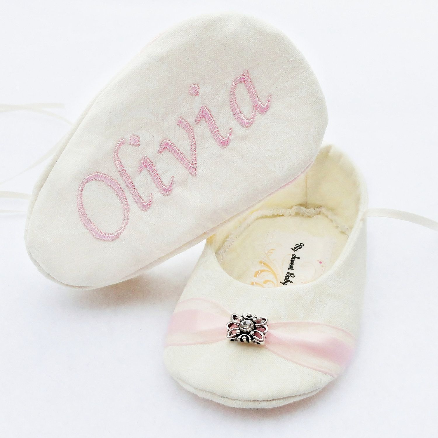 Ivory Rose Baby Girl Shoes FREE Personalization Wedding Shoes