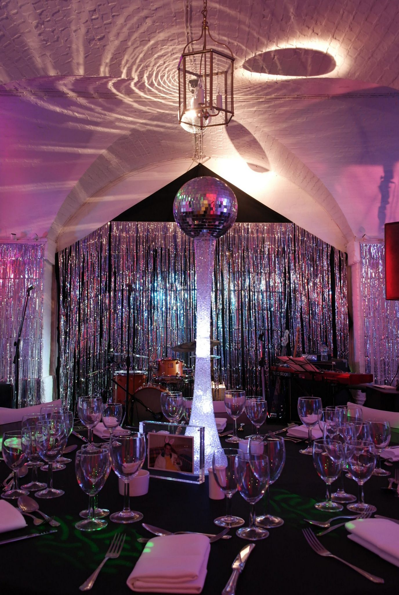 Exceptional Clandon Park Surrey   Black Shimmer Backdrop, Mirrorball And Illuminated  Mirror Ball Table Centres By