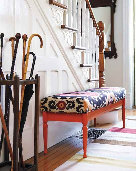 paint an old coffee table, pick a fabric, take it to an upholsterer and turn it into a bench - must do this with my coffee table in the future!