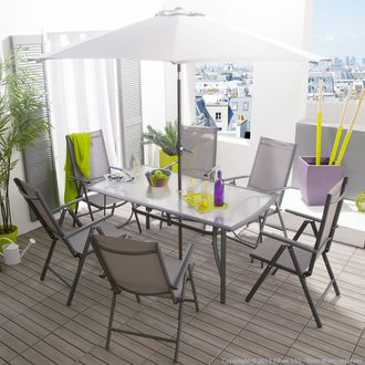 Salon de jardin 6 places + parasol : table + 6 chaises ...