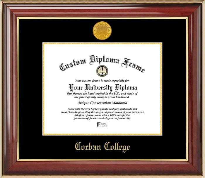 Corban College Diploma Frame - Gold Medallion - Mahogany Gold Trim