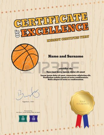 Portrait certificate of excellence template in sport theme for basketball event with wooden floor ba Stock Vector