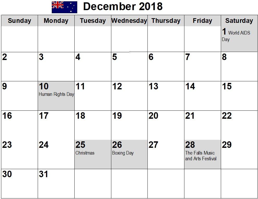 december 2018 australia holiday calendar australia calendar2018