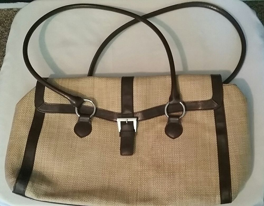 Banana Republic Woven Straw Bag with Leather Handles and Bottom   BananaRepublic 7012ffd012dce