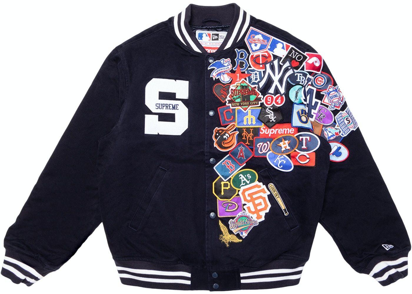 Supreme New Era Mlb Varsity Jacket Navy In 2020 Varsity Jacket Streetwear Jackets Jackets