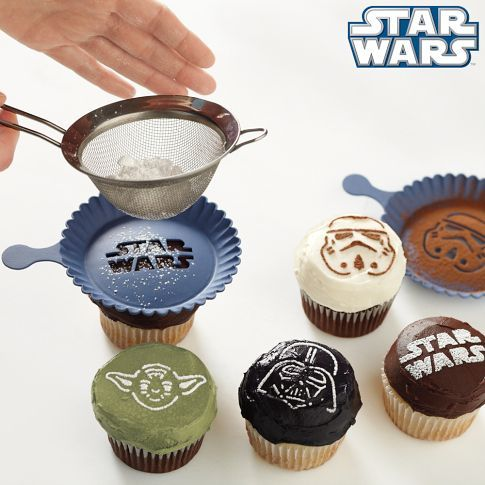 Star Wars Cupcake Stencils from Williams Sonoma. Decorating Cupcakes may be a crossover to Baking/Cooking but as this is also 'creative' am pinning it to here.  http://www.williams-sonoma.com/products/star-wars-cupcake-stencil-set/?pkey=cbaking-pastry-tools