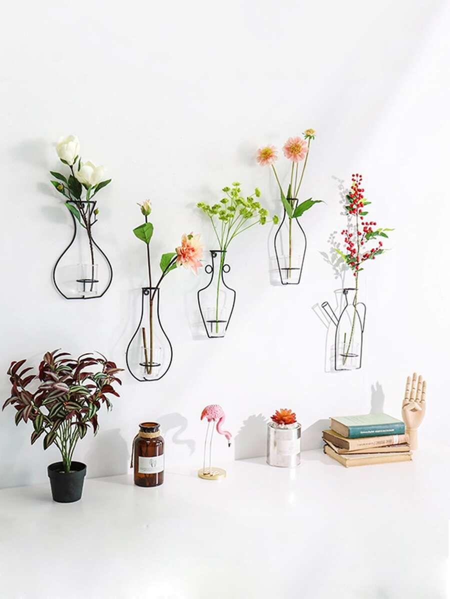 1pc Iron Flower Vase Wall Decor Flower Vases Wall Decor Iron Wall