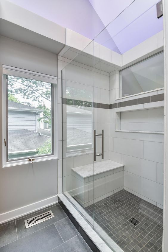 Subway Tile Shower With Small Built In Bench Builtshowerdesigns