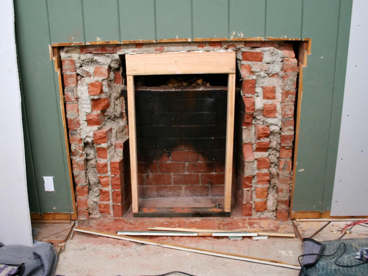 Cover Brick Fireplace With Wood Panels Removing A Brick Fireplace Brick Fireplace Spaces And