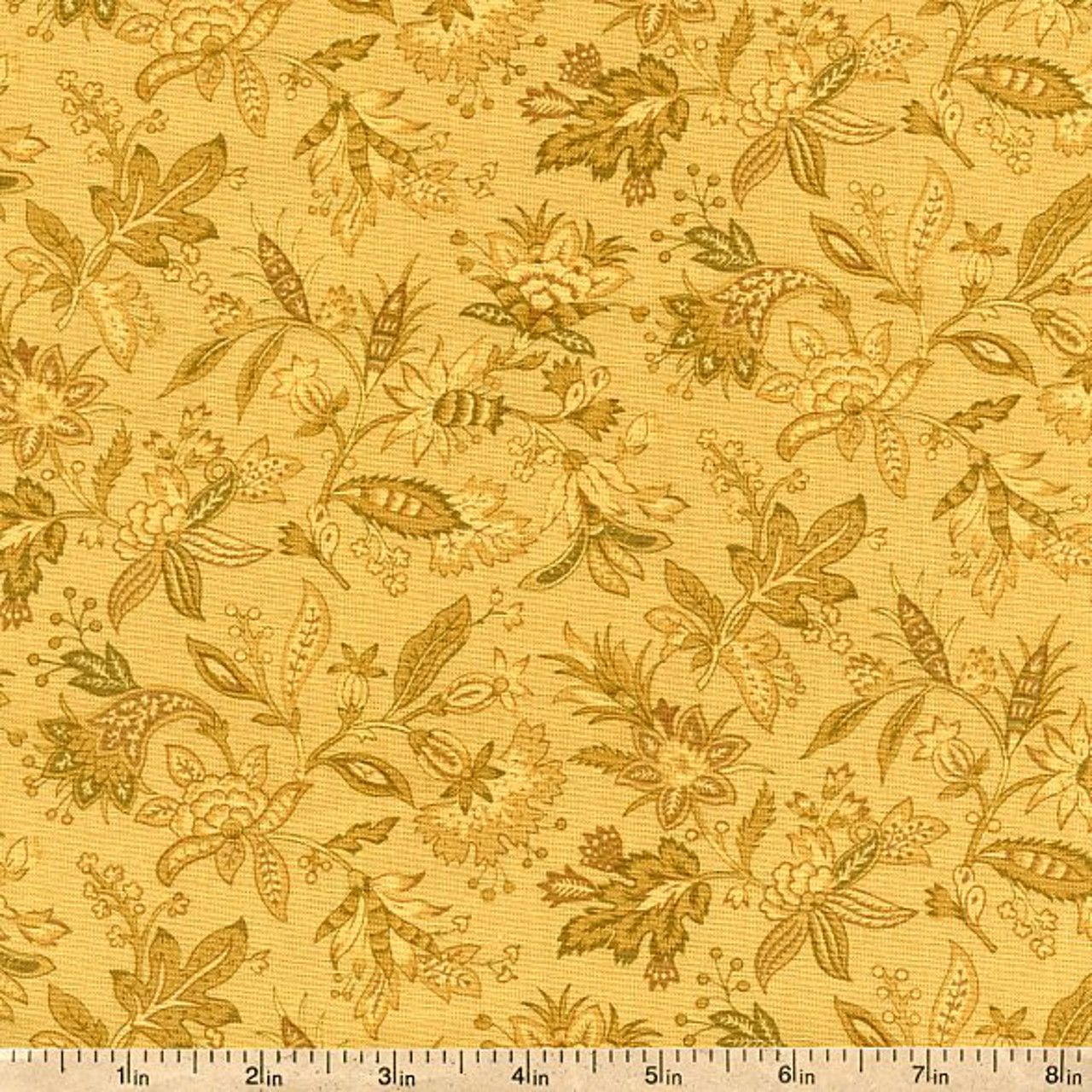 Victoria Park Small Jacobean Cotton Fabric - Yellow by Beverlys.com