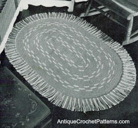 This oval rug is sure to complement any home decor! The instructions for this rug specify grey and white, but it can be crocheted in any two...