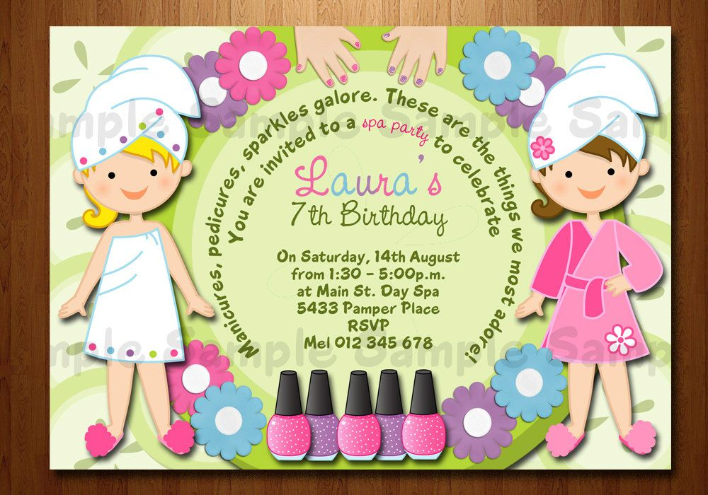 Spa Party Birthday Printable Invitation, Manicure, pedicure, pamper ...