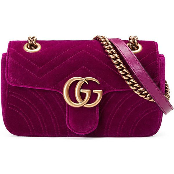 Gucci GG Marmont 2.0 Mini Quilted Velvet Crossbody Bag (€1.145) ❤ liked on Polyvore featuring bags, handbags, shoulder bags, gucci, dark fuchsia, gucci shoulder bag, chain shoulder bag, crossbody purses, crossbody shoulder bag and mini crossbody