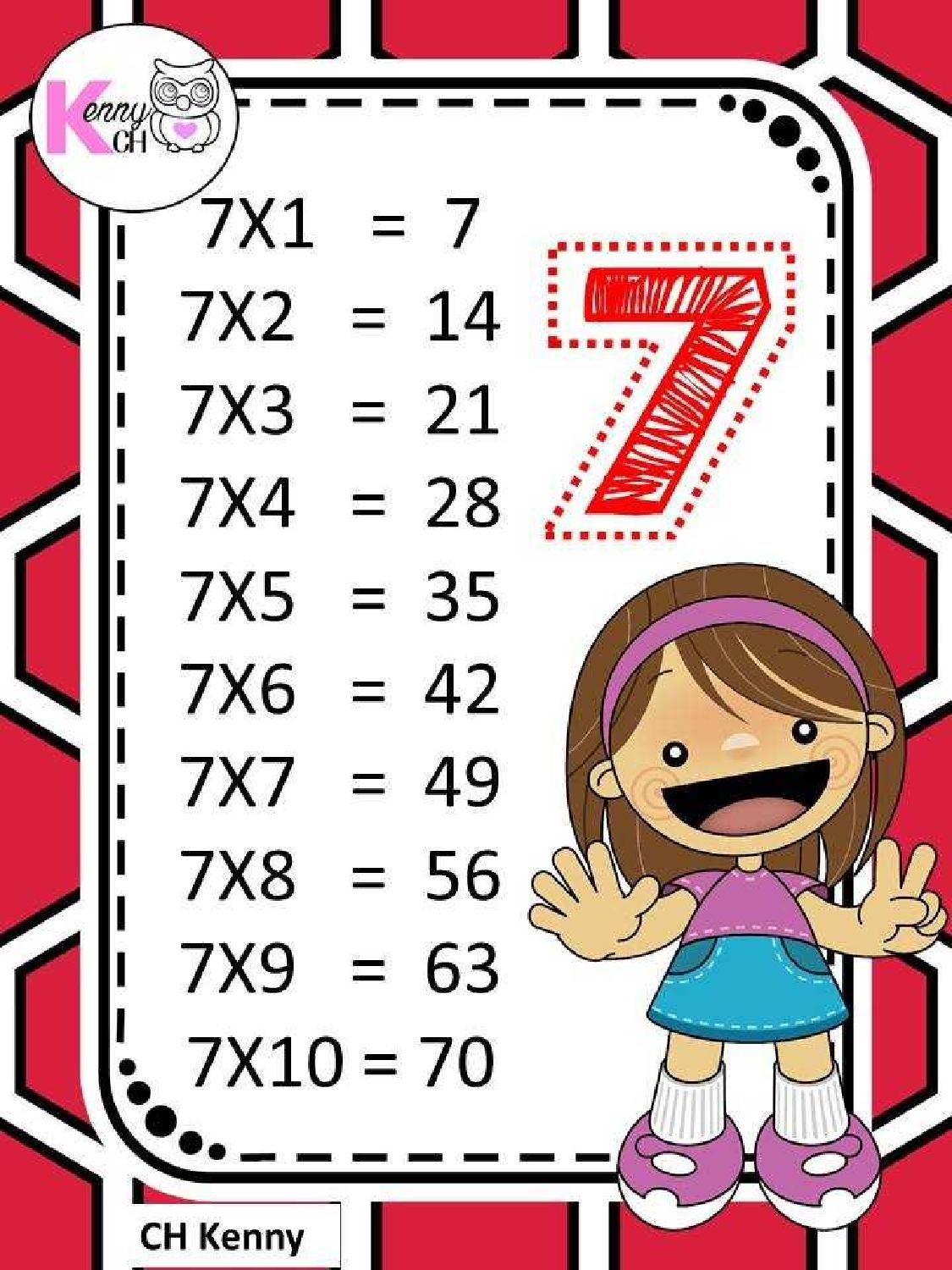 Image Result For جدول الضرب 7 Math For Kids School Activities Math Activities