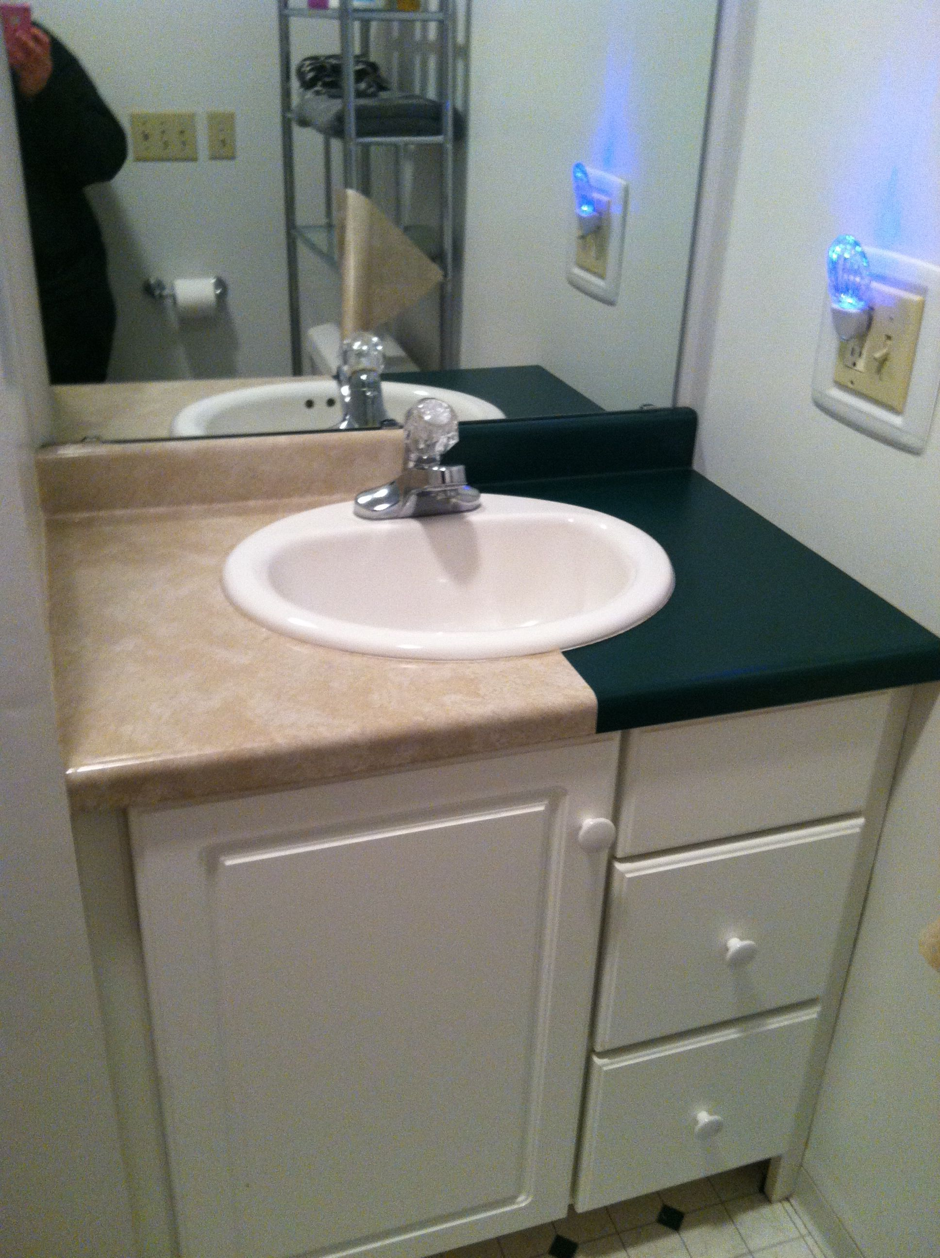 My Bathroom Countertop Covered With Contact Paper From The Dollar Wow It Looks Soooooo Much Better