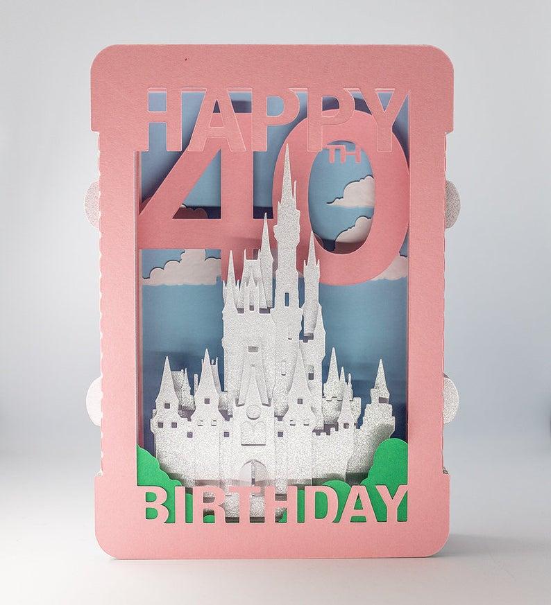 Disney Princess Castle 3d Personalised Card Cinderella Etsy Disney Birthday Card Disney Princess Castle Cards