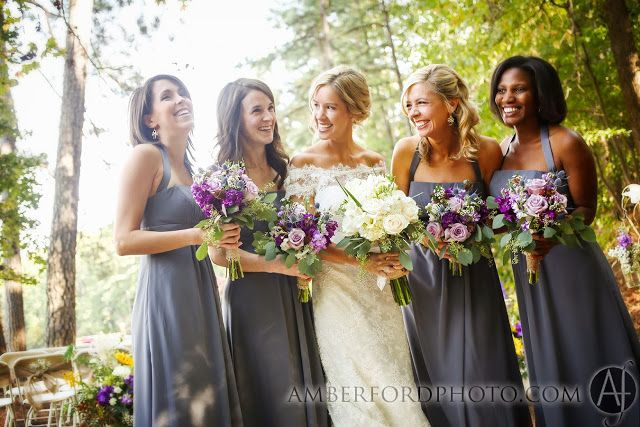 Bridesmaid gray dresses with purple flowers video