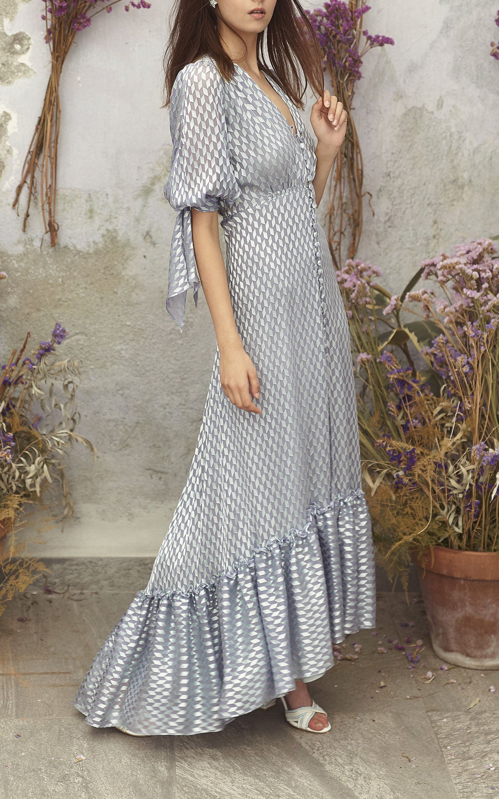 Short Balloon Sleeve Maxi Dress By Luisa Beccaria For Preorder On Moda Operandi Fashion Dresses Maxi Dress Fashion [ 2560 x 1598 Pixel ]