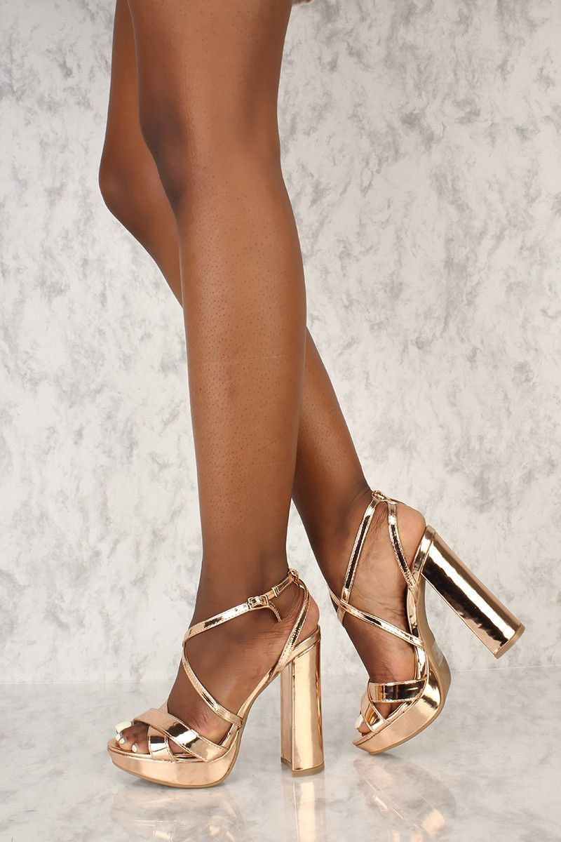 600bbc001f7e3c Sexy Rose Gold Strappy Platform Pump Chunky High Heels Faux Leather