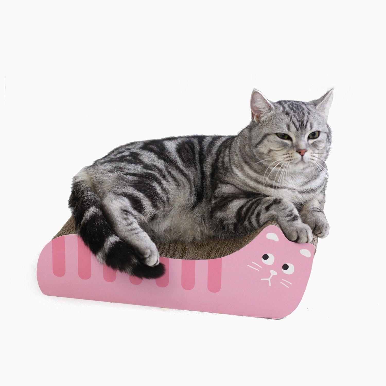 Pgfun Cat Shaped Corrugated Scratching Pad Board Kittens Scratcher Lounge Cardboard With Catnip Pink Click Image For Mo Cats Cardboard Cat Scratcher Kittens