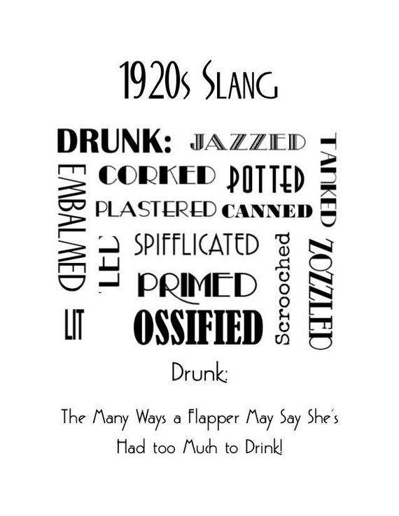 1920s Art Deco Slang Poster, Drunk Words Poster, Vintage