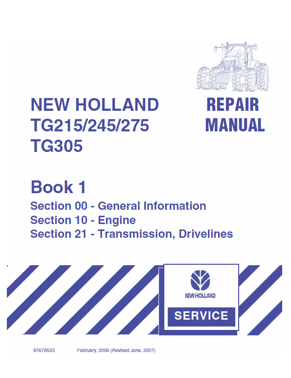 New Holland Tg215 Tg245 Tg275 Tg305 Tractor Service Manual New Holland Tractors Hydraulic Systems