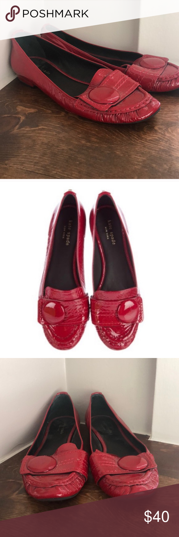 b51ee6be3 Kate Spade Poppy Red Shelly crinkle flats size 8.5 Kate Spade Poppy Red  Shelly crinkle patent