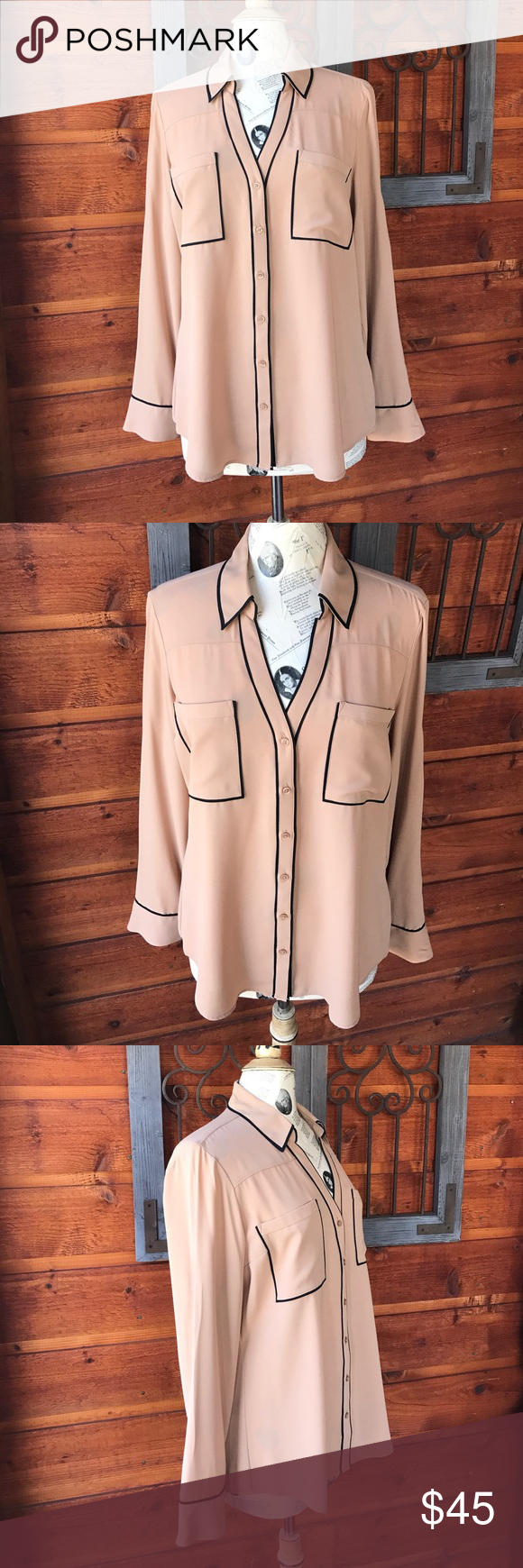 Express button down nude and black blouse size L Express button down nude and black blouse size large. In excellent condition and comes from a smoke free home. Please use the offer button to make any offers and do not make offers in the comment section thank you❤️😃✌️❤️ Express Tops Button Down Shirts
