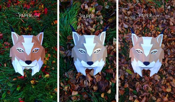 Lynx, paper lynx, 3D model, trophy lynx, wall, Papercraft