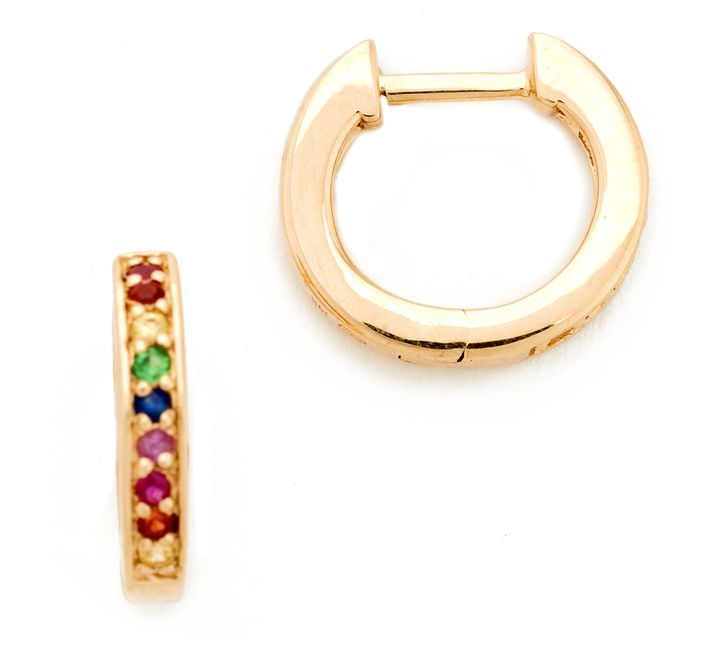 Sydney Evan Small Rainbow Huggie Hoops earrings yFcvA4x