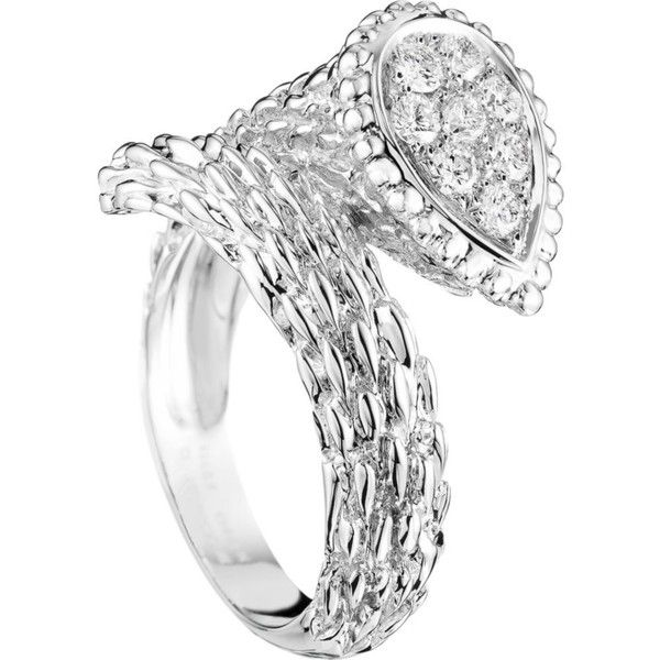 BOUCHERON Serpent Bohème 18ct white-gold and diamond ring ($5,445) ❤ liked on Polyvore featuring jewelry, rings, white gold jewellery, diamond jewelry, white gold jewelry, diamond rings and round ring