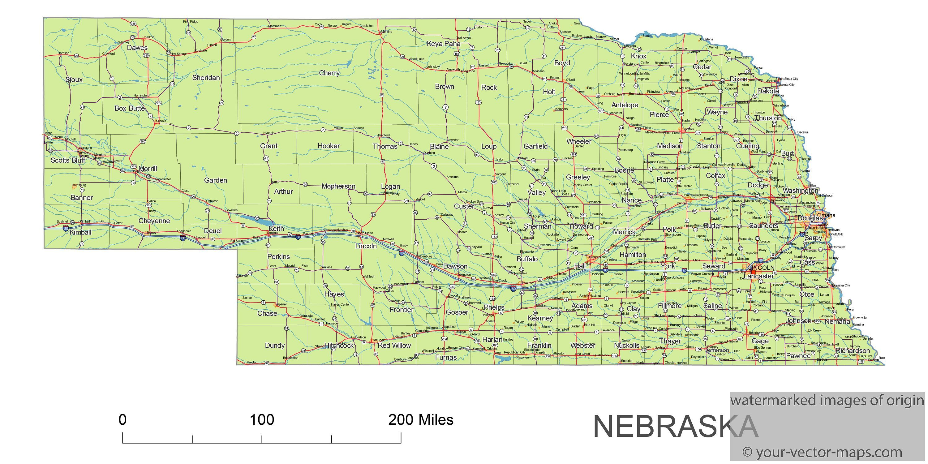 Nebraska State Route Network Map Nebraska Highways Map Cities Of - Us-map-nebraska-state