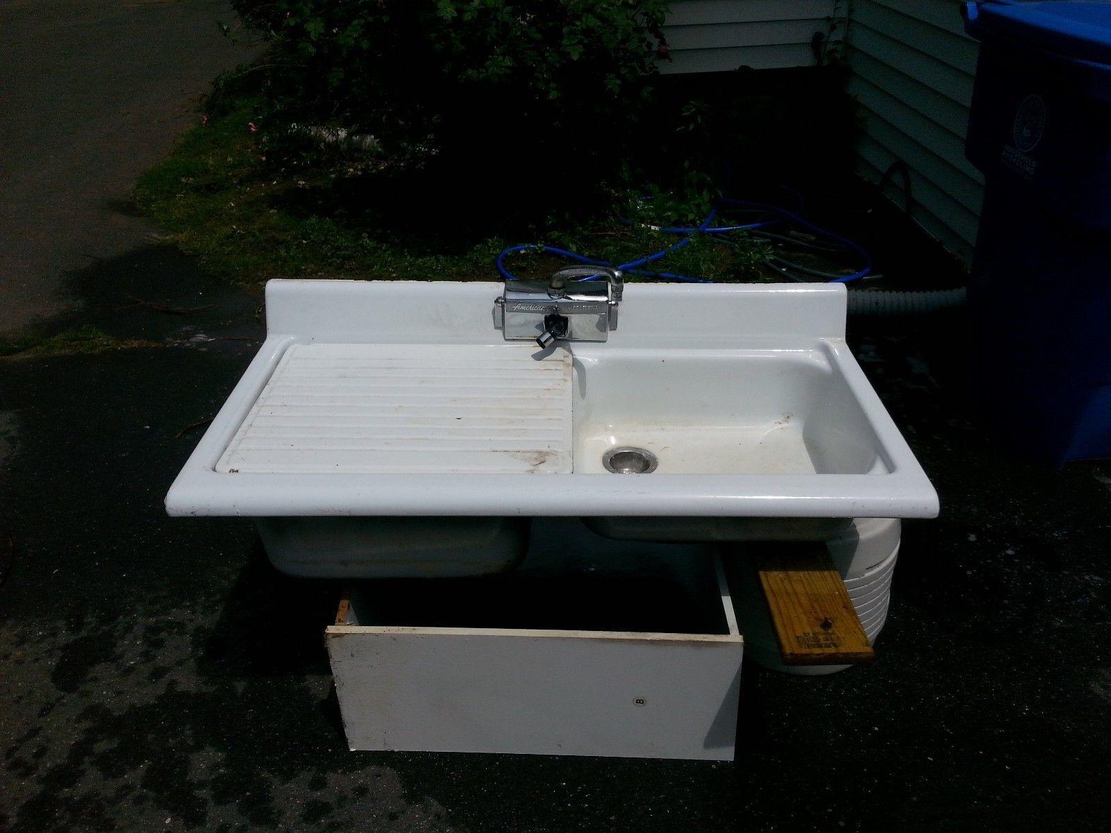 1940's Antique American Kitchen Double Retro Sink   eBay $400