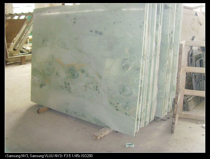 Ming Green Marble Slab Counters Blue Subway Tile