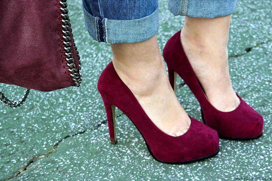 Burgundy marsala heels and falabella bag by stella mccartney