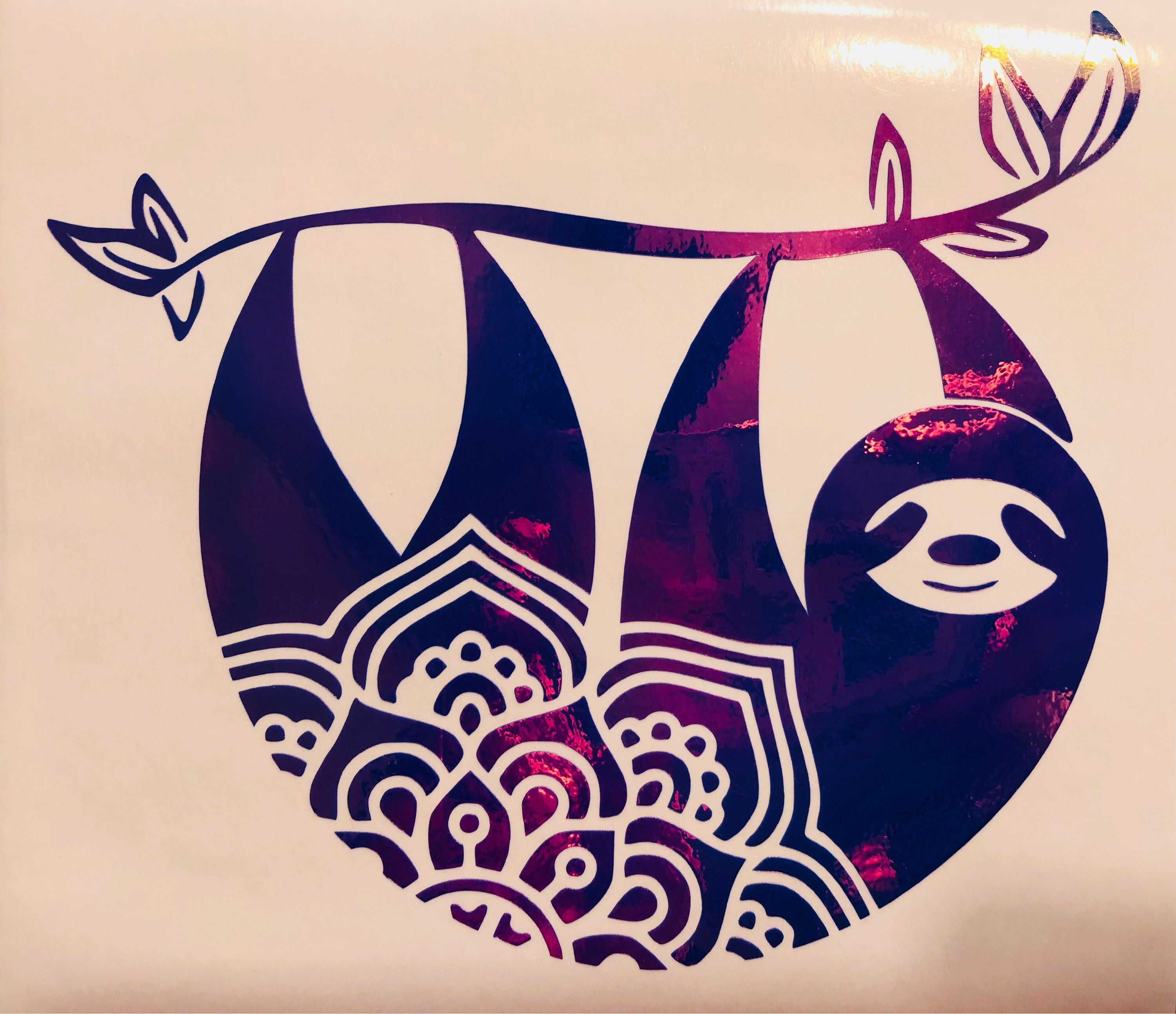 Sloth mandala Vinyl decal Add Name for Free Water