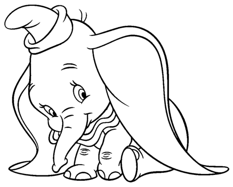 Shy Dumbo Coloring page | Dumbo | Pinterest