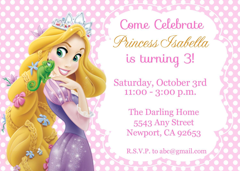 Rapunzel Invitation Template A Girly Birthday Party Invitation Card Design Rapunzel Invitations Rapunzel Birthday Party Girly Birthday Party Invitations