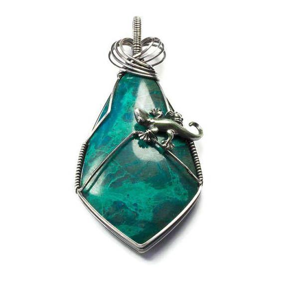 Silver lizard necklace blue stone pendant animal jewelry my silver lizard necklace blue stone pendant animal jewelry aloadofball Choice Image