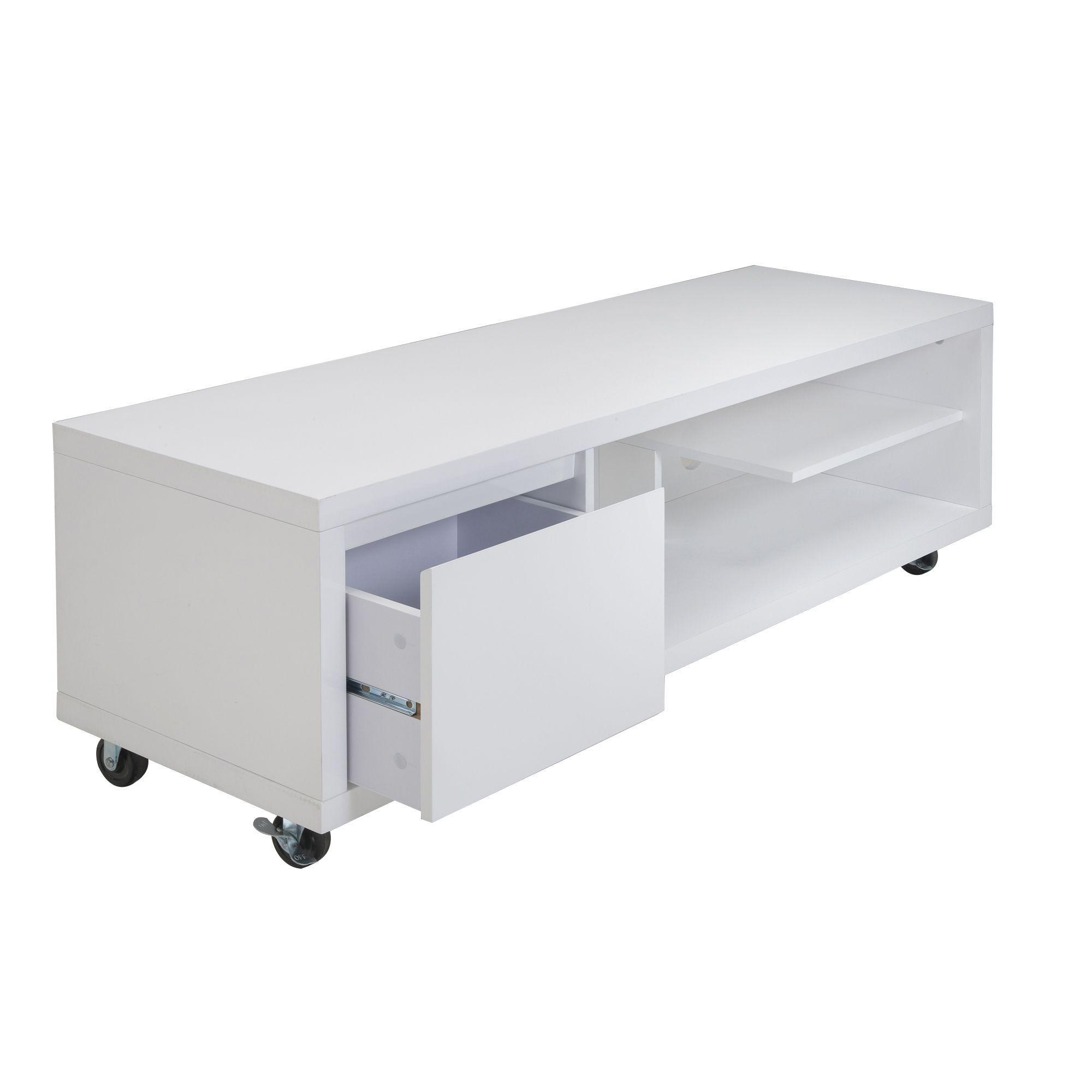 Banc tv blanc 1 tiroir roulettes blanc lorena les meubles t l les meubles et - Alinea meuble tv ...