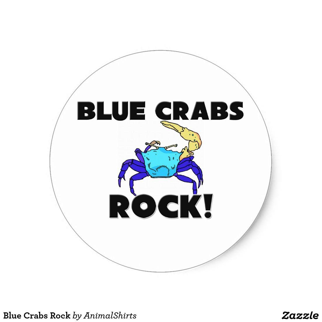 Blue Crabs Rock Classic Round Sticker