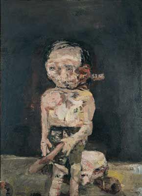 Georg Baselitz, Die große Nacht im Eimer, 1962/63 Öl auf Leinwand, 250 x 180 cm Museum Ludwig, Köln Š Georg Baselitz