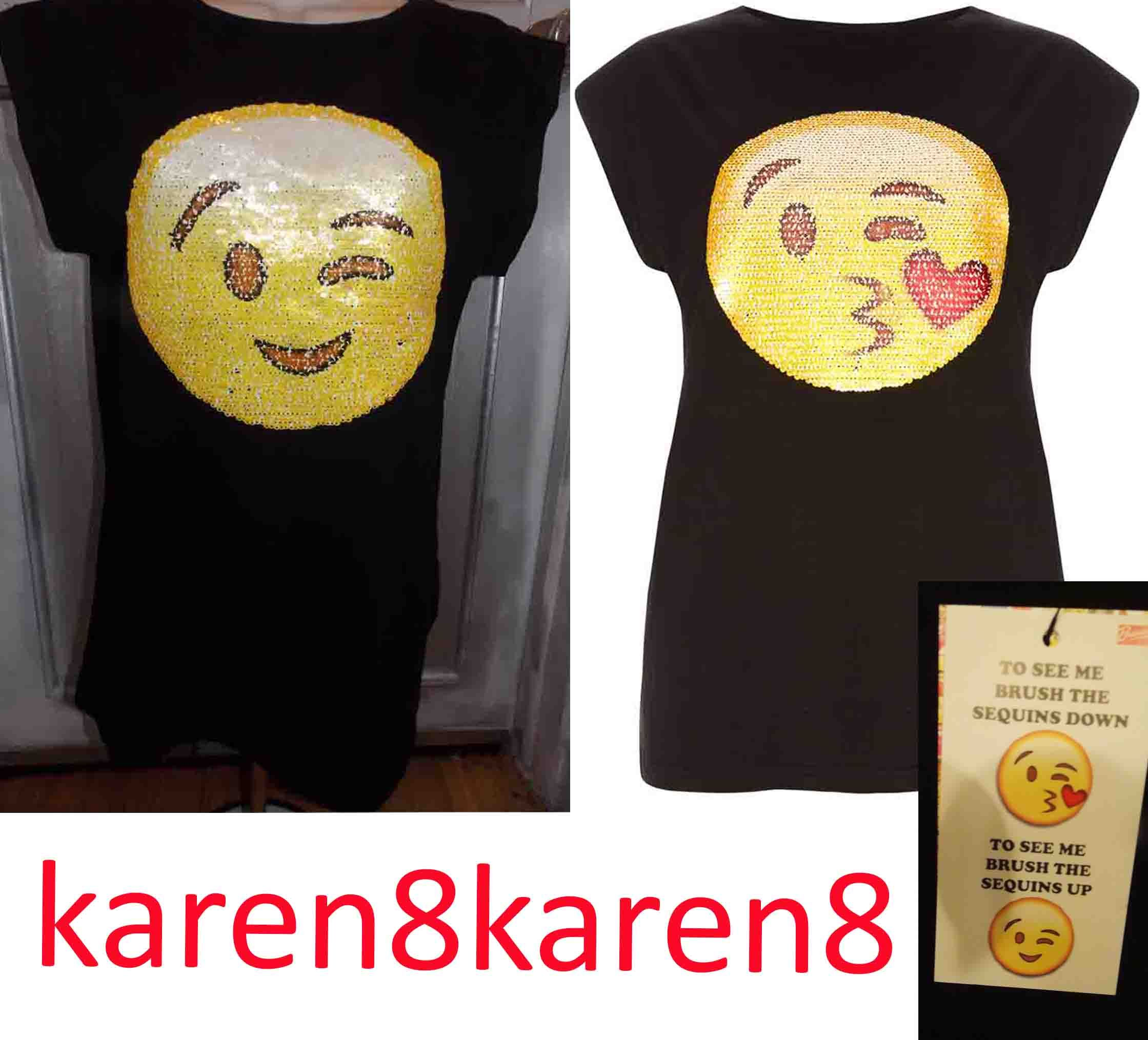 Smiley emoji sequin shirt on sale now at my ebay store for Sequin t shirt changing
