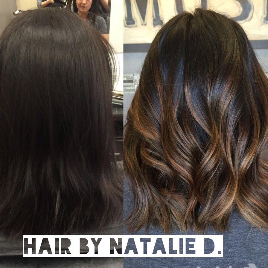 Before and after Balayage highlights by Natalie D. Balayage On Dark HairHighlights